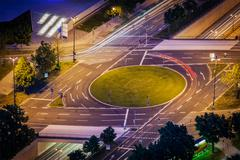 Elevated view of German road junction. Munich, Bavaria, Germany, - stock photo