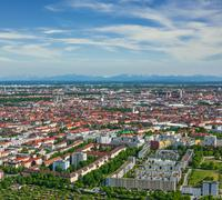 Aerial view of Munich from Olympiaturm (Olympic Tower). Munich, Bavaria, Germ Stock Photos