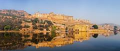 Famous Rajasthan landmark - Panorama of Amer (Amber) fort, Rajasthan, India - stock photo