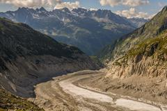 Montenvers mountain railway station Mer de Glace Glacier Aguilles Rouge in backg Stock Photos