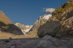 Boulder sitting on top of Mer de Glace Glacier Chamonix France Stock Photos