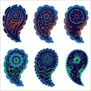 Stock Illustration of six cold colors paisley ornament elements