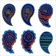 six cold colors paisley ornament elements - stock illustration