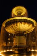 Fountain in the Geschwister-Scholl-Platz in the evening. Munich, Bavaria, Ger - stock photo