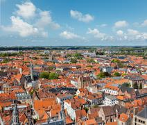 Aerial view of Bruges (Brugge) from Belfry, Belgium - stock photo