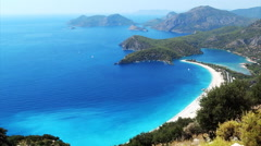 Panorama of coast and beach oludeniz landscape mediterranean sea turkey - stock footage