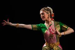 Beautiful girl dancer of Indian classical dance Bharatanatyam - stock photo