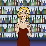 Woman drinking martini Stock Illustration