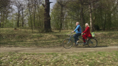 Senior couple with a tandem, Sweden. Stock Footage