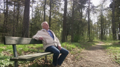 Senior coupe meeting in the forest, Sweden. Stock Footage