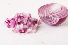 Fresh finely diced red onion - stock photo