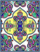 elaborate original floral large area carpet design - stock illustration