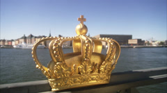 CU PAN Golden crown at edge of bridge / Stockholm, Sweden, Scandinavian Stock Footage