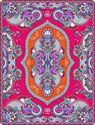 elaborate original floral large area carpet design for print - stock illustration