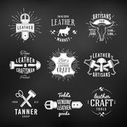 Set of leather craft logo designs, retro genuine vintage tool labels. artisans - stock illustration