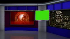 News TV Studio Set 88 - Virtual Green Screen Background Loop Stock Footage