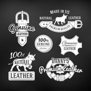 Set of leather quality goods vector designs. Vintage belt logo, retro labels - stock illustration