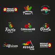 Set of african rastafari sound vector logo designs. Jamaica reggae music - stock illustration