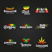 Set of africa flag logo design. Jamaica music vector template. Colorful dub time - stock illustration