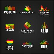 Set of positive africa ephiopia flag logo design. Jamaica reggae dance music Stock Illustration
