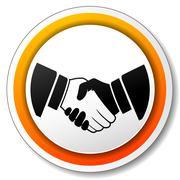 Handshake orange icon Stock Illustration