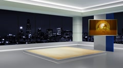 News TV Studio Set 89 - Virtual Green Screen Background Loop Stock Footage