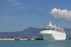 Large cruiser ship in port Corfu Greece Stock Photos