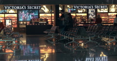 Duty-free area with seats and store Stock Footage
