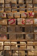 Stacked wooden slats Bavaria Germany Europe Stock Photos
