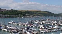 Boats and Marina on the River Dart Estuary at Dartmouth and Kingswear in Sout Stock Footage