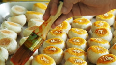 Chef making traditional Chinese cake. Stock Footage