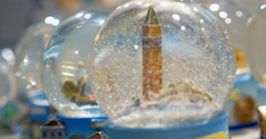 Snow globes in souvenir store Stock Footage
