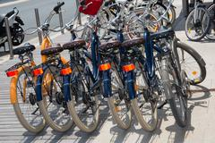 Bicycles For Rent or sell  In The Street Stock Photos
