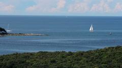 Sail Boat On A Deep Blue Sea - stock footage