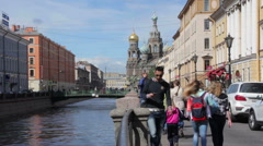 People about Church of the Savior on Blood. St. Petersburg. Russia. 2015 Stock Footage