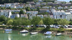 Kingswear Harbour and River Dart Coastal Esturary Village in South Devon Stock Footage