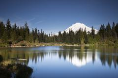 Stock Photo of Mirror Lake with Mount Hood Government Camp Oregon United States North America
