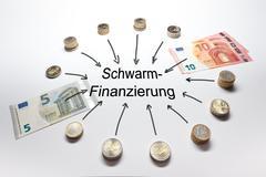 Schwarmfinanzierung crowd funding Euro - stock photo