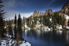 Stock Photo of Blue Lake in autumn Newhalem Washington United States North America