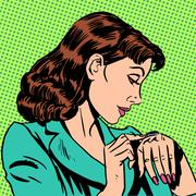 Girl Thursday watch runs businesswoman Stock Illustration