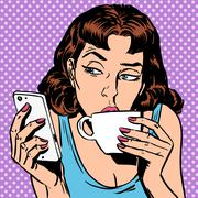 Tuesday girl looks at smartphone drinking tea or coffee Stock Illustration