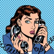 Wednesday girl on two phones running bond Secretary office Manag - stock illustration