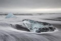 Stock Photo of Ice on the beach Jokulsarlon Eastern Region Iceland Europe