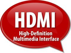 HDMI acronym definition speech bubble illustration - stock illustration