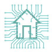 PCB circuits with a house symbol connected home illustration - stock illustration