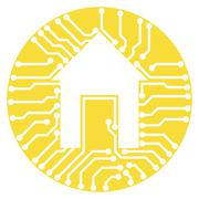 Circuit board with house symbol connected home illustration - stock illustration