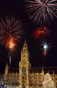 Munich City Hall Marienplatz square with New Years fireworks Munich Upper Kuvituskuvat