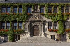 Stock Photo of Facade of the Renaissance Town Hall historic centre Quedlinburg Harz