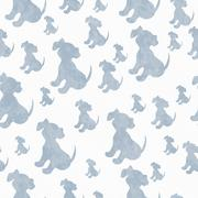 Blue and White Puppy Dog Tile Pattern Repeat Background Stock Illustration