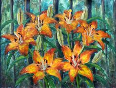 Orange flowers on a green background oil painting. - stock illustration